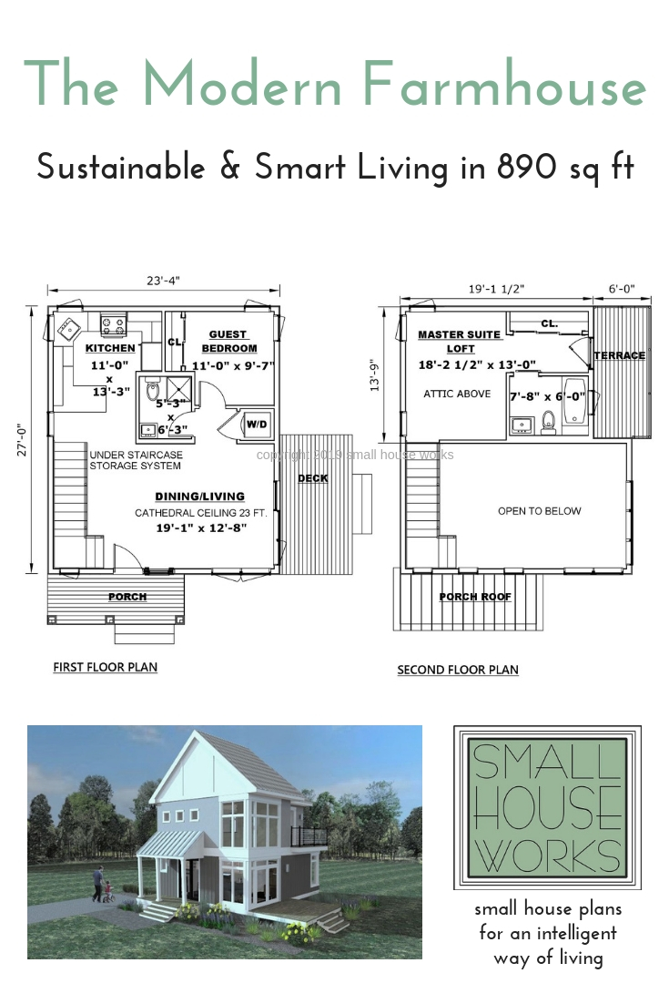 Floor Plans for The Modern Farmhouse Plan- Sustainable Living in 890 sq ft. With rendering of the front elevation.