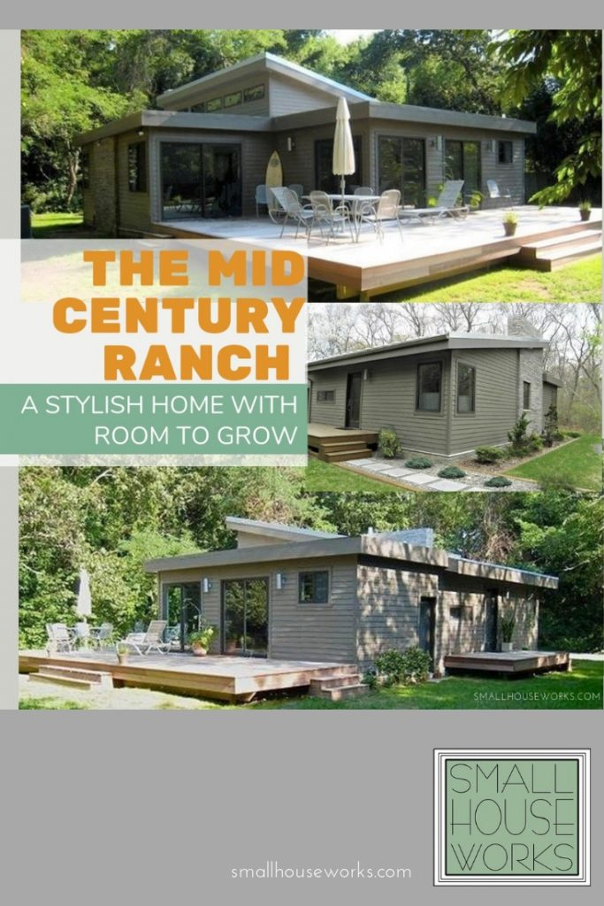 The Mid Century Ranch- A Stylish Home With Room To Grow. Photos show 3 exterior elevations of this house design