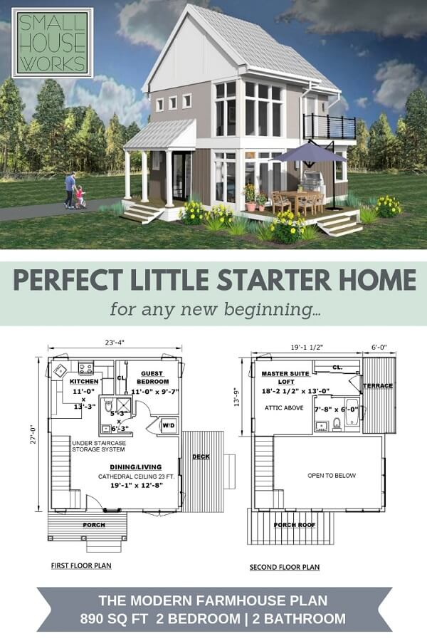 "3d rendering of The Modern Farmhouse Front view with title ""Perfect Little Starter Home for any new beginning"" and floor plans below. Bottom text reads ""The Modern Farmhouse Plan, 890 sq ft, 2 bedroom/2bathroom"""